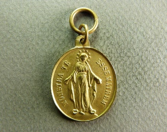 french Antique Religious Brass Miraculous Medal Pendant Virgin Mary Children of Mary