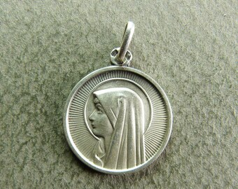 french Antique Religious Medal Pendant Virgin Mary Lourdes Hallmarked Silver