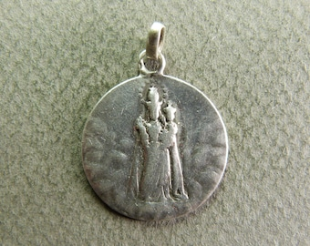 french Antique Religious Silver Pendant Virgin Mary & Jesus Child Medal Awarded OROPA Hallmarked 1902