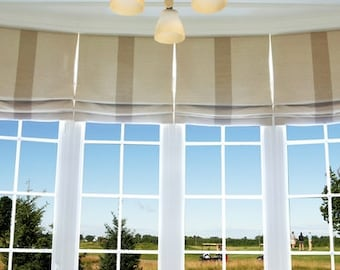130# Custom Roman Shade with Wide Stripe Down the Middle, 3 Different Color Combinations