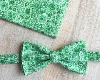 Bow tie + Pocket - Delft Green