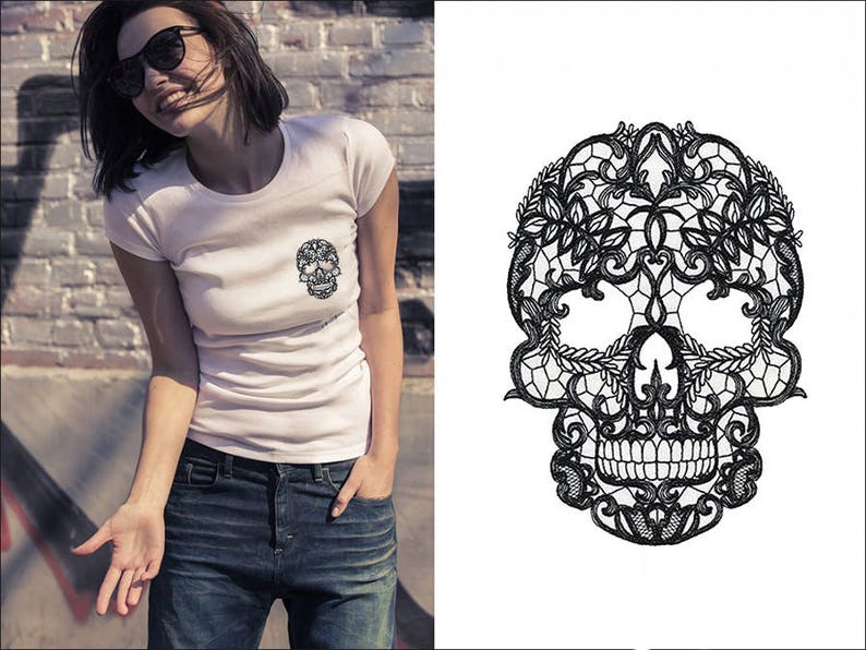 ce0ec74948b3a lace skull pocket t-shirt woman tee design idea gift For Wife Gift Women's  clothing Funny Workout Graphic Tee Girl women's fashion