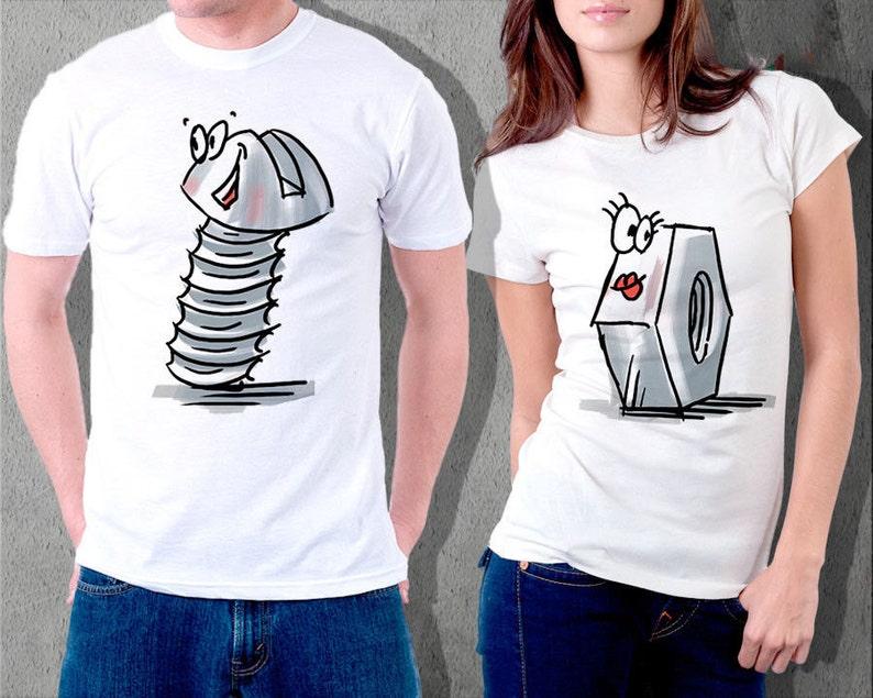 dd6bdb6a5 Funny couple set tshirts shirt bolt nut tshirts gift for | Etsy