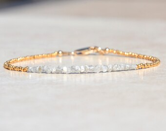 April Birthstone Diamond Bracelet, Raw Rough Diamonds, Beaded Gemstone Bracelet, Delicate Gold Vermeil Bracelet, Christmas Gift For Her