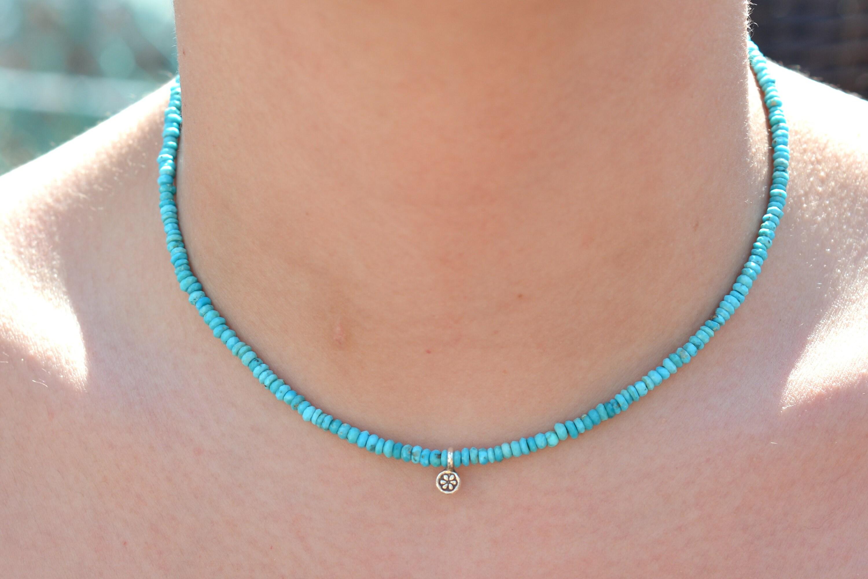 9d534d4c681c8 Arizona Turquoise, Sleeping Beauty Necklace, Adjustable Choker, December  Birthstone, Beaded Bracelet, Natural Turquoise Gemstone, Gift