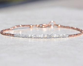 Diamond Bracelet, Raw Rough Diamond, Rose Gold Jewelry, April Birthstone, Delicate Dainty Beaded Gemstone Bracelet, Mothers Day Gift for Her