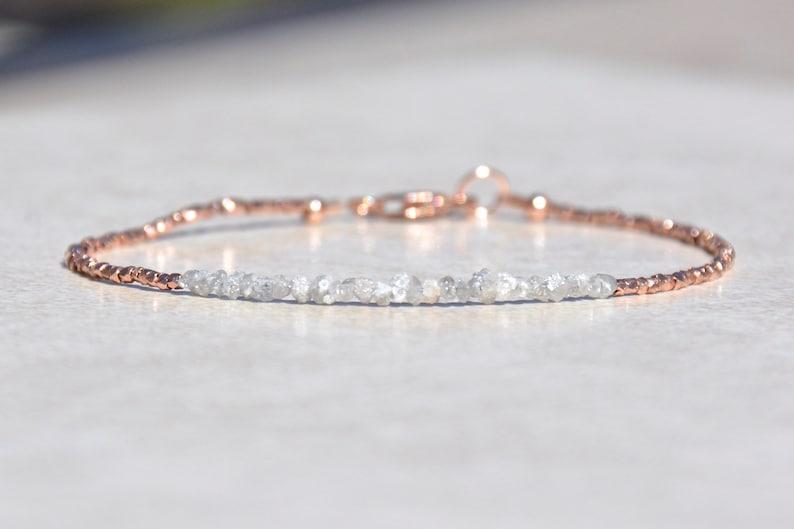 Diamond Bracelet Raw Rough Diamond Rose Gold Jewelry April image 0