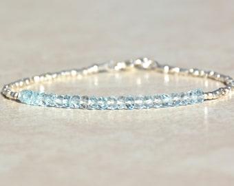 Aquamarine Bracelet, March Birthstone Bracelet, Dainty Gemstone Beaded Bracelet, Stacking Karen Hill Tribe Silver, Christmas Gift for Her