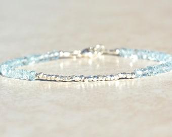 Blue Topaz Bracelet, December Birthstone, Beaded Gemstone Bracelet, Gift for Her, Birthstone Jewelry, Friendship Bracelet, Silver Bracelet