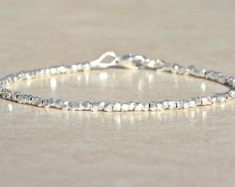 Karen Hill Tribe Silver Bracelet, Sterling Beaded Bracelet, Dainty Women's Bracelet, Delicate Minimalist Jewelry, Christmas Gift for Her