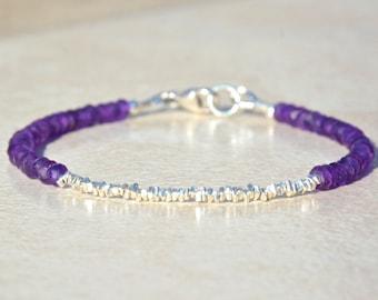 Amethyst Bracelet, Amethyst Birthstone Bracelet, February Birthstone, Silver Gemstone Bracelet, Beaded Friendship Bracelet, Christmas Gift