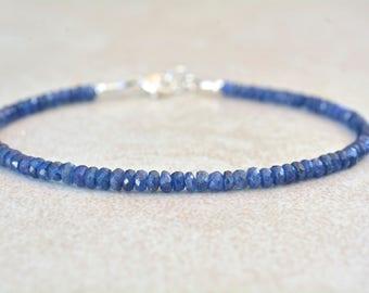 Sapphire Bracelet, September Birthstone Bracelet, Natural Blue Sapphires, Gemstone Beaded Bracelet, Stack Bracelet, Handmade Gift for Her