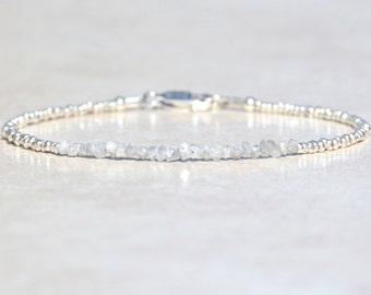 Diamond Bracelet, Graduation Gift, Genuine Raw Diamond Bracelet, Beaded April Birthstone, Sterling Silver, Delicate Rough Diamond Bracelet