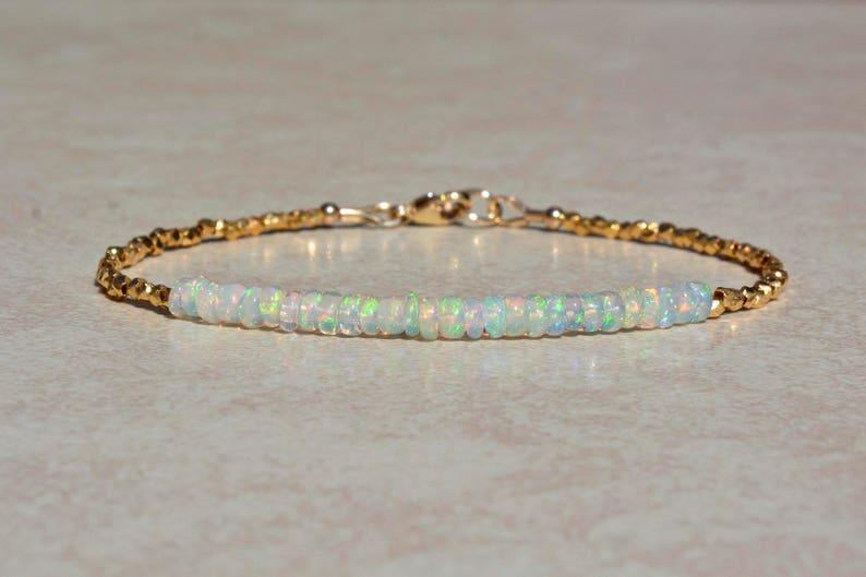 Ethiopian Opal Bracelet October Birthstone Bracelet Gold image 0