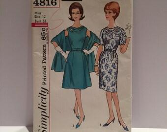 Vintage (1960's) Simplicity Sewing Pattern 4816  Uncut Dress Pattern Miss Size 12 Bust 32