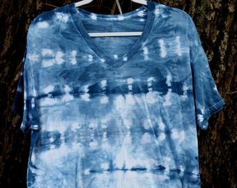 Shibori T-Shirt | Indigo Shirt | Shibori Shirt | 100% Cotton | Natural Dye Clothing