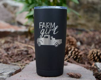 Farm Girl Polar Camel 20 / 30oz Tumbler - Similar to Yeti/RTIC Tumbler - Farmer Gift, Country Girl - Black Mug