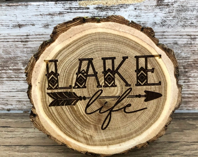 Lake Life Engraved Wooded Coasters- Old West Log Coasters