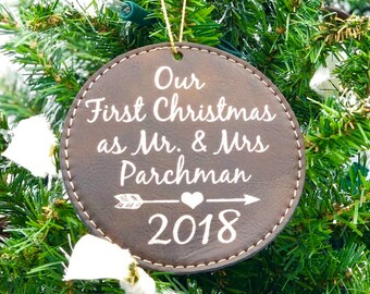 Couple's First Christmas Ornament - 1st Christmas Tree Ornament - Leatherette Christmas Ornament - Personalized Gift