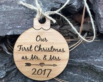 Couple's First Christmas Ornament - 1st Christmas Tree Ornament - Wood Cristmas Ornament - Personalized Gift