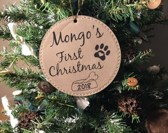 Puppy's First Christmas Ornament - Pet Tree Ornament - Leatherette Christmas Ornament - Personalized Gift