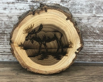 Moose Engraved Wooded Coasters- Set of Four - Old West Log Coasters