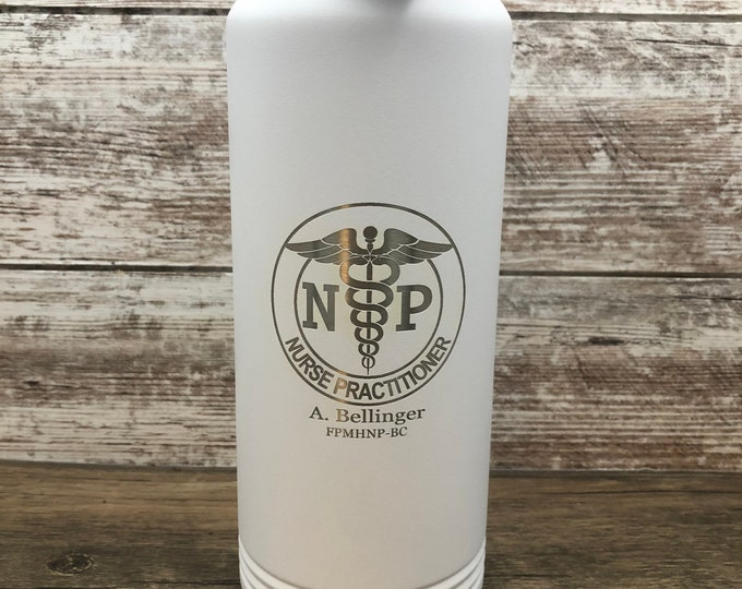 Nurse Practitioner Tumbler - 32 Ounce Water Bottle - Double Wall Insulated - Vacuum Sealed - Comes With Lid And Straw