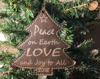 Peace On Earth Christmas Ornament - 2018 Tree Ornament - Leatherette Christmas Ornament - Personalized Gift
