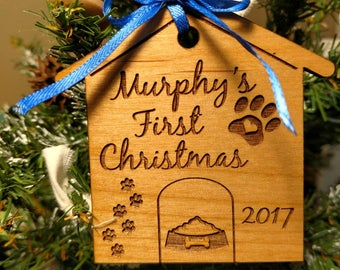 Puppy's First Christmas Ornament - Pet Tree Ornament - Wood Christmas Ornament - Personalized Gift