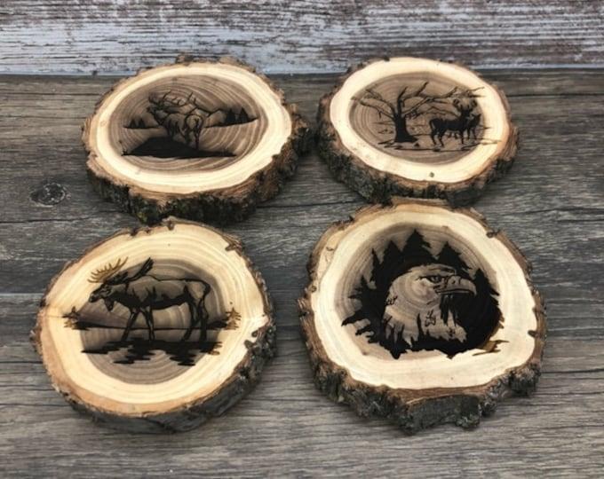 Wildlife Engraved Wooded Coasters- Set of Four - Variety Pack -  Eagle, Moose, Elk, and Deer - Old West Log Coasters