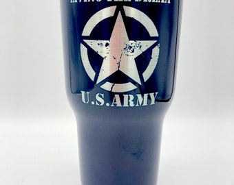 Living The Dream Army Mug - RTIC Tumbler - Army Travel Cup - Free Shipping