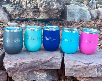 Personalized Stemless Wine Glass - Insulated, Vacuum Sealed, Double Wall Tumbler - Cold For 24 Hours, Hot For 6 Hours