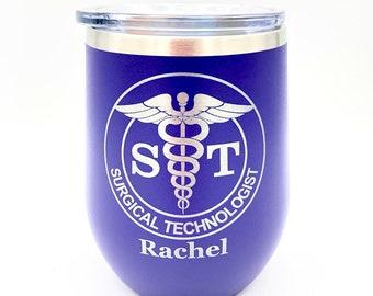 Stemless Wine Glass - Powder Coated Tumbler - Similar to Yeti Rambler - Surgical Tech