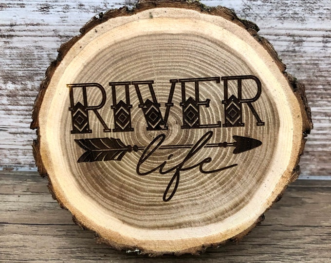 River Life Engraved Wooded Coasters- Old West Log Coasters
