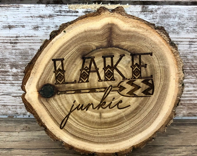 Lake Junkie Engraved Wooded Coasters- Old West Log Coasters
