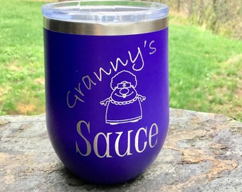 Granny's Sauce  Stemless Wine Glass - Insulated, Vacuum Sealed, Double Wall Tumbler - Cold For 24 Hours, Hot For 6 Ho