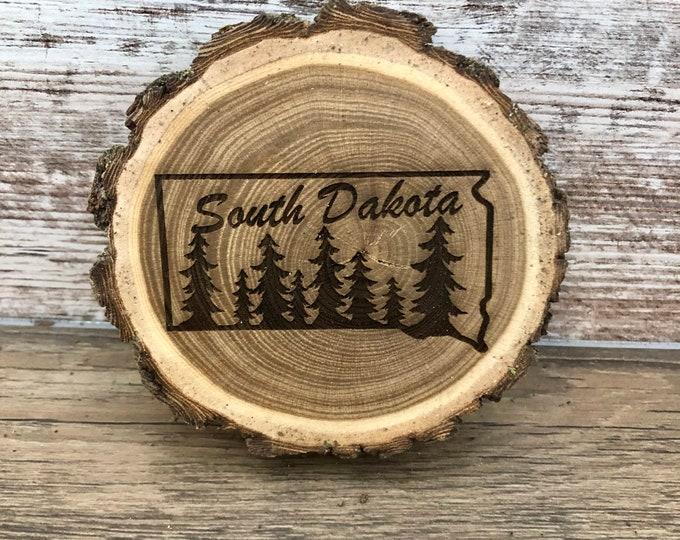 South Dakota Engraved Wooded Coasters- Old West Log Coasters
