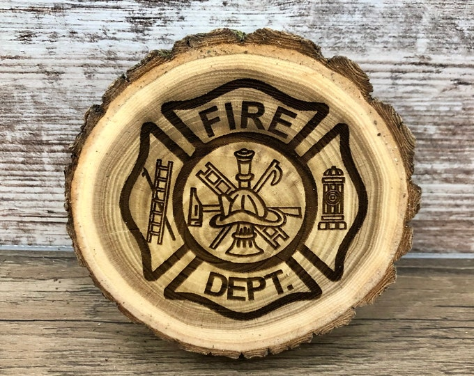 Fire Fighter Engraved Wooded Coasters- Old West Log Coasters