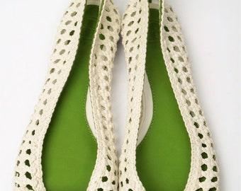 a3464f907 NEW TORY BURCH Carlyle Woven Ballerina Flats Ivory Green Sz. 7M