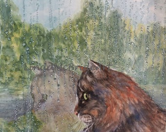 Rainy Day Cat Reflection 5x7 Blank Notecard with Envelope