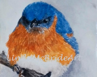 Eastern bluebird 3.5x5 blank notecard reproduced from my original painting
