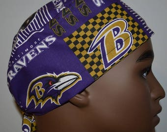 a89aab89addba Baltimore Ravens NFL Purple Traditional-Tie-back Unisex Surgical Scrub Hat  Chemo Cap