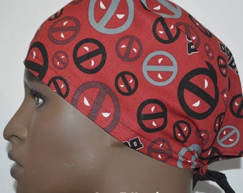 e32a7a7c13baa7 Marvel Comics Deadpool Icon Tossed TRADITIONAL Tie Back Unisex Surgical  Scrub Hat Cap