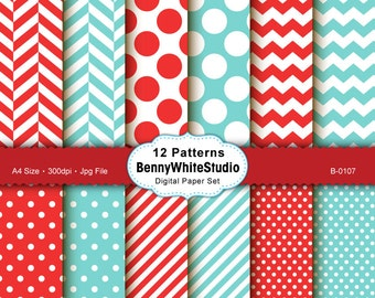 12 Digital Papers. For Your Scrapbooking and Handmade Projects. Personal and Small Commercial Use. B-0107.