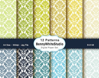 12 Digital Papers. Damask Pattern. For Your Scrapbooking and Handmade Projects. Personal and Small Commercial Use. B-0138.