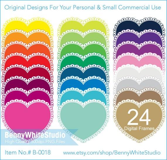 24 Colors Digital Heart Shape Frames Clip Art For Personal Etsy