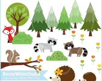 Fox Raccoon Porcupine Squirrel in Forest Clip Art. Woodland Animals Pine Tree Flower Woods. For Personal and Small Commercial Use. B-0065