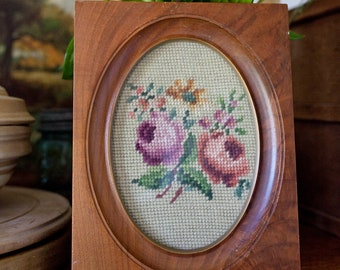 French antique embroidery cross stitch in a wooden oval frame Canvas Vintage multicolored embroidery French floral French canvas