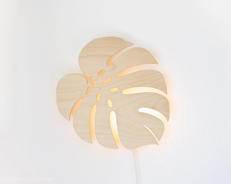 Monstera Leaf Night Light  Wall Hanging Wood Lamp  Tropical image 0