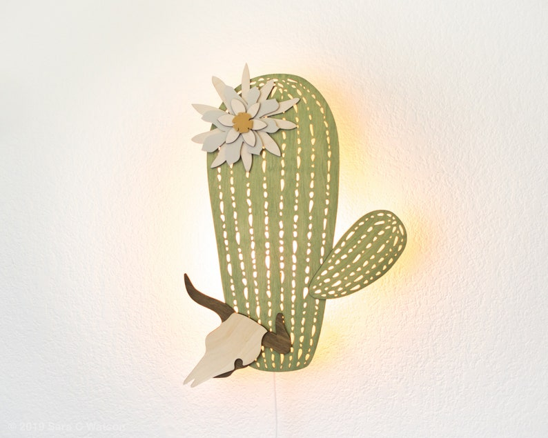 Cactus Night Light  Wall Hanging Wood Lamp  Boho Desert image 0